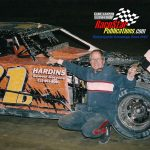 Bill Davis with a feature win at Crown Point Speedway in 2004.  Gary Gasper Photo.