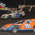 #11 Former Sprint Car driver Mark Brucker in his first year racing the Modifieds, battles #192 Kyle Laughlin