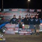 """Brandon Sheppard led the final 14 laps to take the """"One For the Road"""" Late Model feature."""