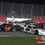 Rich Bickle Jr. (#45) saw his chances of victory slip away as he was involved in a red flag-causing pileup after a green flag restart.  Others in the phot include Mike White (#A3), Billy Hulbert (#88), Keith Tolf (#52), Austin Maynard (#04), Jim Weber (#3) and Clay Curts.