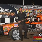Bud Swanson in victory lane after winning the pure stocks feature.
