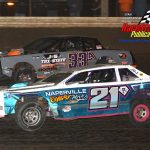 Eric Newhouse (#21) and Danny Allen (#33) battle during the street stocks feature.