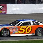 Jake Gille (#50) led the first 14 laps of the 100-lap chase after starting on the inside of the front row.