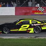 Michael Bilderback and his No. 2 on their way to winning the 59th annual Tony Bettenhausen Classic 100 late model stock car special at Illinois' Grundy County Speedway Saturday night.