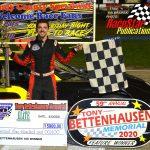 Michael Bilderback poses in victory lane after winning the Tony Bettenhausen 100 lapper.