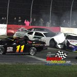 Another crash after a double-file restart saw Paul Shafer Jr. (#7) taken out of the possible victory picture.  Besides Shafer, Blake Brown (#11), Dave Gentile Jr. (#6) and Eddie Hoffman are in the fracas.