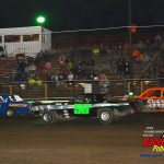 Stacy Doris (#43), John Dietrich III (#50) and Bud Swanson (#96) in close quarters during the pure stocks headliner.