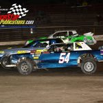 Three-wide street stocks feature action.