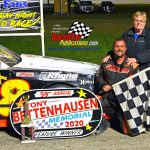 Timmy Stewart won the 25-lap street stock main event.  Stewart poses with his Mom, Pam, in victory circle.