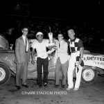 Jerry Vandermeir after a big Cadet division win at O'Hare in 1959.  Vandermeir receives the trophy from two sponsor representatives while starter Art Kelly poses on the right.  (O'Hare Stadium Photo)