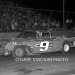 Jerry Vandermeir in his Chevy convertible No. 9 ready to go late model racing at O'Hare in 1963.  (O'Hare Stadium Photo)