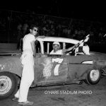 Jerry Vandermeir (#7) after an early 1959 victory in O'Hare's Cadet division in his brother Jim's '57 Chevy.  You can see the number '1' (for '17') and the name 'Jim' painted out.  (O'Hare Stadium Photo)