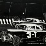 Ted Janecyk wheels his Olds-powered '50 Pontiac (#3T) during stock car action at Raceway Park in 1954.  (John Kelbowski Jr. Photo)