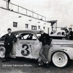 Ted Janecyk (right) and Bill Koenig pose next to Janecyk's '41 Buick at Raceway Park in 1953.  (Johnnie Salamon Photo)