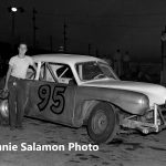 Bob Halston poses next to his Henry J No. 95 at Chicagoland's Raceway Park in 1951.  (Johnnie Salamon Photo)