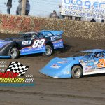 Friday's winner in the WOO 25 lap race, #89 Mike Spatola races with #28 Dennis Erb Jr.