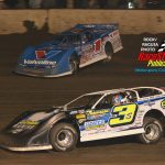 #1 Brandon Sheppard started in the 18th position, charged thru the field to finish 3rd in the 75 lap, Illini 100,races with #3s Brian Shirley