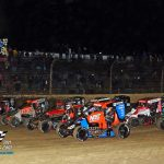 Perfect 4 wide USAC midget salute to the Kokomo fans on a cold and windy Friday night.