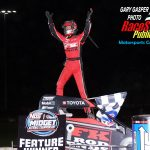 Emerson Axsom celebrates his first USAC Midget feature win!
