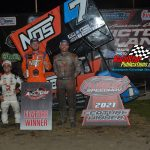 All Star Circuit of Champions/IRA Sprint Cars (left to right) Rico Abreu 3rd, Tyler Courtney 1st.Bill Balog 2nd
