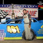 Greg Cantrell Jr. in victory lane after his super late model feature victory at Illinois' Sycamore Speedway Saturday night.