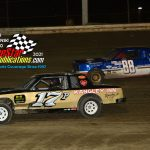 Tim Provenzano (#17) works inside of Mikey Huber II (#88) during the pure stock feature.