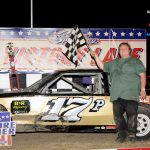 Tim Provenzano in victory lane after his pure stock feature win.