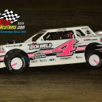 Zach Zuberbier and his No. 4 on their way to victory in the street stock feature.