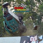 """Jake Dohner goes for a wild """"out of the park"""" ride during a Badger midget heat race.  Dohner escaped injury."""