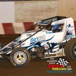 Ryan Zielski and his No. 14 on their way to victory in the Wisconsin WingLESS Sprints feature race Sunday night at Wisconsin's Angell Park Speedway.