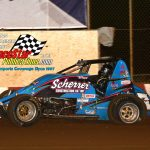 """Trinity Uttech was a """"wall smacker"""" during the sprint car semi feature."""