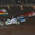 Kyle Larson (#6) and Shane Clanton (#25) battle during the opening laps of the main event.