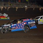 This was the scene in the closing laps of the modified feature - Mike McKinney (#96) battling Kyle Steffens (#8) for second place.