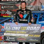 """Brandon Sheppard captured the Castrol FloRacing """"One for the Road"""" 50-lap dirt late model stock car special at Illinois' Fairbury American Legion Speedway Monday night."""