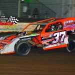 Michael Ledford and his No. 37 won the 25-lap modified feature race at Fairbury Monday night.