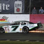 The sparks fly as a mechanical problem ends Paul Shafer Jr.'s second-place run.