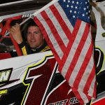 After 20 years of racing in the Modified and Late Models, Jeff Curl made his announcement to retire as an active driver. Curl had the honors to carrt=y the Stars and Stripes during prerace ceremonies.