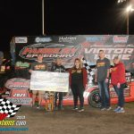 One of the top Modified drivers from the Quad City area, Michael Long made the top side of the Fairbury cushion look easy, as he turned back a stout filed of drivers in the 25 lap,$3000 to win Modified feature.