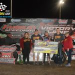 DIRTcar Pro Late Model National Champion, Jose Parga outdueled Aaron Heck to win the 25 lap, $1000 to win Pro Late Model race.