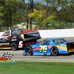 """Opening laps of the """"602"""" feature find a variety of cars in action including the modified of Dave Edwards (#5), the truck of James Swan (#97) and the """"602"""" class car of Peter Moore (#76)."""
