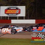 Casey Johnson (#35) got close to leader and eventual winner Ty Majeski (#91) on a restart during the opening segment of the Trickle 99.