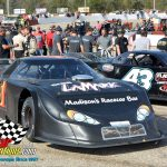 """Sometimes it gets a little crowded in victory circle during Oktoberfest at LaCrosse as this photo shows the cars of """"602"""" race winner Bryce Miller (#41) and the #43 of Randy Sargent."""