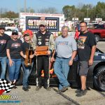 Bryce Miller captured the 25-lap Gandrud Chevrolet Cratetoberfest 602 Challenge feature race and his joined by his family and crew after the victory.