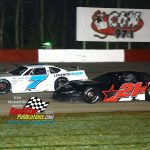 Jackson Lewis (#7) tries to stay ahead of Adam Bendzick (#21) during LaCrosse late model feature action.