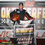 Jacob Goede on the victory podium after win the Big 8 Late Model Series feature race.